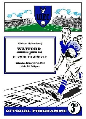 Watford Match Programme on Canvas