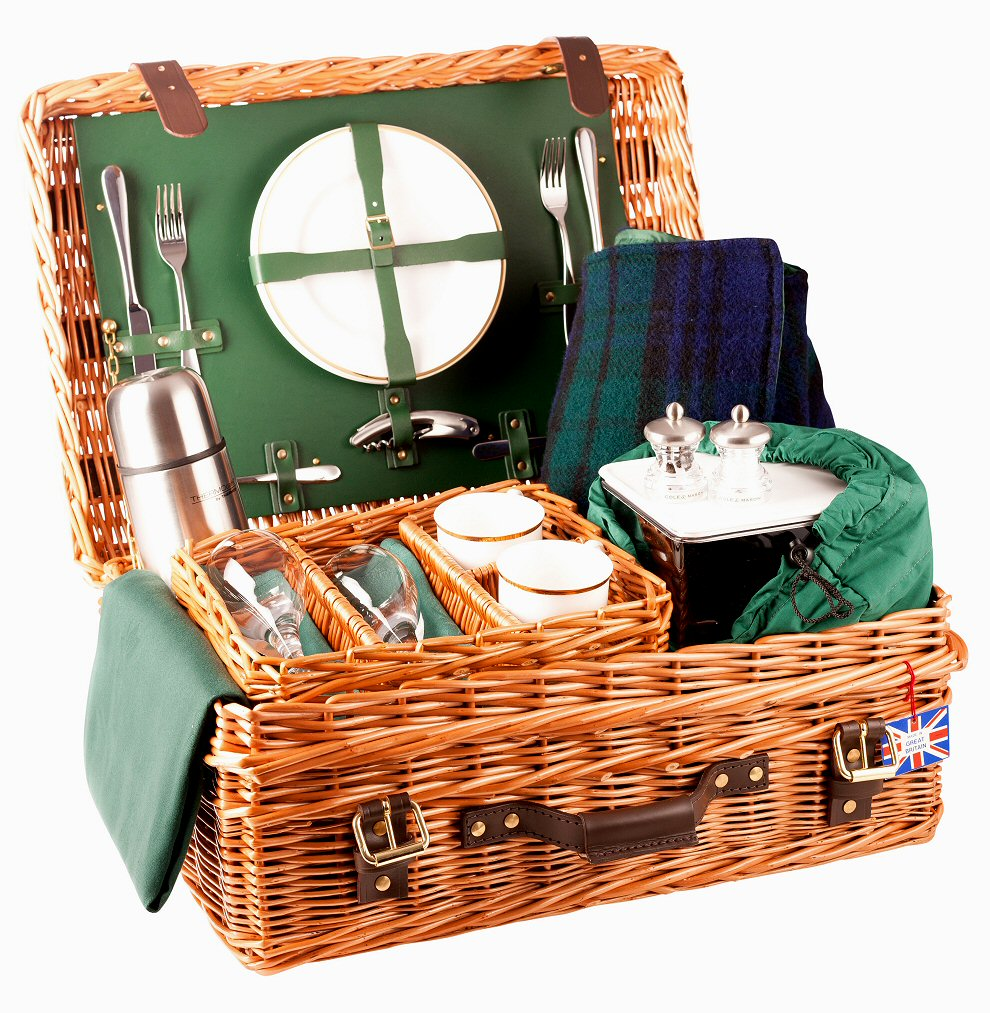 Amberley Ascot 4 Person Picnic Basket : Edwardian picnic basket place settings green