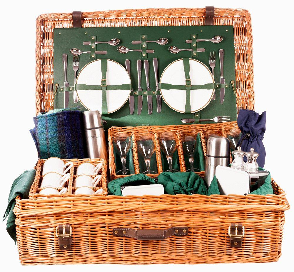 Edwardian Picnic Hamper 6 Place Settings Green