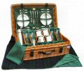 Edwardian Picnic Hamper (4 Place Settings) - Green