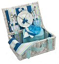 Coastal Stripe Picnic Basket, 2 Settings
