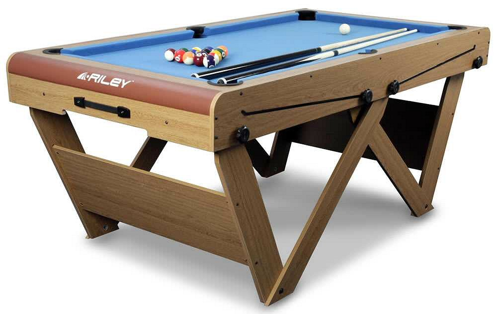 Riley Ft WLeg FlatFolding Pool SnookerTable FSPW - Fold up pool table full size