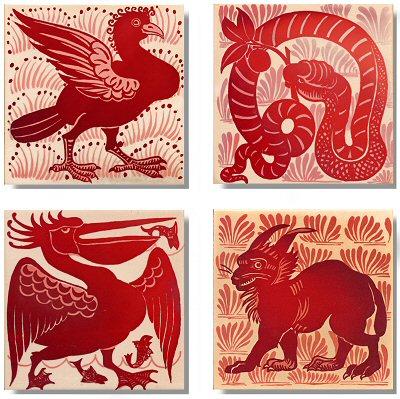 Animal Themed Ruby Lustre Tiles William De Morgan