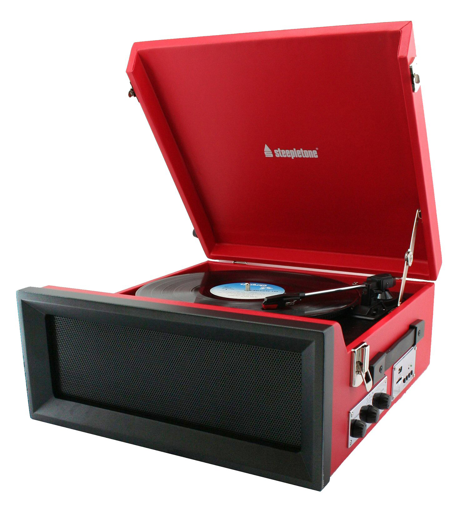 Steepletone 1960s Style Record Player Red